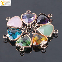 CSJA 13mm Mixed Color Glass Beads Triangle Double Buckles Connector Faceted Loose Bead for DIY Necklaces Bracelets Earrings Jewelry E980