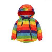 baby regenbogen mantel großhandel-Neue jungen mädchen jacke kinder regenbogen farbe kleidung kinder kapuzenmäntel baby windjacke oberbekleidung baby mantel