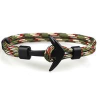 handmade paracord pulseiras venda por atacado-Design Popular Artesanal Dos Homens e Das Mulheres Paracord Anchor Pulseira Multi Cores Pulseira de Tecido para Atacado 1 PCS