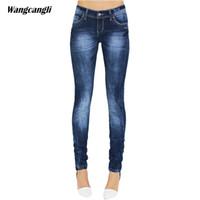 Wholesale Tight Cowboy - jeans women summer blue elasticity Pencil Pants Tight cowboy decoration Scratched Moustache Effect Skinny sisters wangcangli