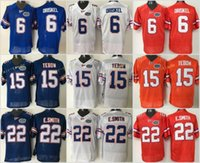tim football al por mayor-Camisetas de fútbol americano de Florida Gators College de calidad superior 6 Jeff Driskel 22 E.Smith Emmitt Smith 15 Tim Tebow camisetas de fútbol con costuras retro