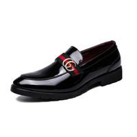 ingrosso gli abiti di affari più il formato-Luxury Brand Dress Shoes Uomo Slip-On Mocassini casual Fibbia di metallo Designer Scarpe uomo in pelle Scarpe oxford da uomo Scarpe Plus Size Q-193