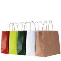sacos de compras segurados do papel marrom venda por atacado-10 Cores Saco De Papel De Presente Marrom Kraft Saco De Papel com Alças de Compras Sacos de Compras Por Atacado ELB152