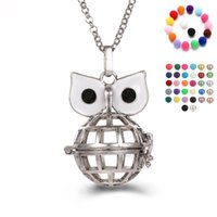 Wholesale hollow owl - Disffuser Necklace owl cone pearl accessories Locket Essential Oil Diffuser Necklaces Hollow out Locket Cage Pendant Necklace DIY Jewelry