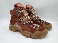 botas de cuero marrón al por mayor-2018 Flashtrek sneaker high-top zapatillas de cuero marrón de las mujeres de lujo Rubber logo sneaker boots botas de lona técnica mujeres senderismo zapatos