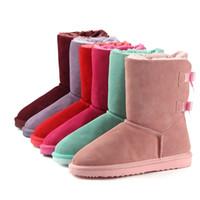 venta de botas de nieve de invierno al por mayor-2018 venta caliente de Las Mujeres Botas de Nieve Australia Vaca Suede Leather Winter Warm Brand bailey bow A Prueba de agua Plus diseñador botas de lujo Tamaño US3-14