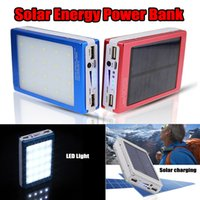Wholesale portable cell phone battery charger for sale - 20000mAh Solar Power Bank LED Camping Light Backup Copy Charger Portable Rechargeable Battery for Cell Phones
