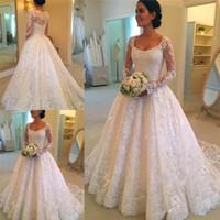 Wholesale trendy lace wedding dresses - Unique design Long Sleeve Lace Wedding Dresses plus size Button Back Appliques Scoop Neck A-line vintage country Bridal Wedding Gowns