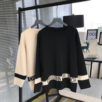 Wholesale Oversized Letters - Brand Designer Women Wool Sweaters 2018 Autumn Winter Fashion Letter Jacquard Casual Loose Knitted Pullovers Oversized Jumpers Tops