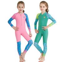 ingrosso costumi da bagno veloci-Costume da bagno per bambini a maniche lunghe Bikini da sole all'aperto Costume da bagno siamesi Asciugamano a prova di raggi ultravioletti Costume da bagno Girl Boy Soft 48xj jj