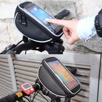 toque los precios de los teléfonos al por mayor-Bicicleta Bicicleta Ciclismo Marco Pannier Bolsa de tubo frontal para 4.8-5.5 pulgadas de pantalla táctil del teléfono celular envío gratisMejor precio