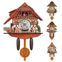 uhr nacht led-design großhandel-Shellhard 1 stück Vintage Antike Kuckuck Wand Wecker Kreative Vogel Zeit Glocke Holz Wandbehang Uhr für Bauernhaus Wohnkultur