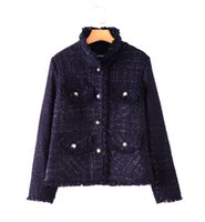 Wholesale Gold Noble Weave - Women winter weave tweed coat Top Quality Luxury fashion Noble Sexy Ladies OL Star Street shooting Boutique Wool Gold thread buckle coat