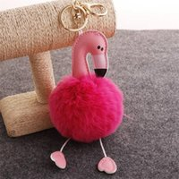 Wholesale toy car for doll resale online - Trinkets Flamingo Keychains Pom Pom Keychains Fur Keychain Fluffy Key Chains for Car Keyrings Pompom Toy Doll Keychain Women Bag
