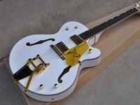 guitarra blanca para la venta al por mayor-Afinadores coreanos Ebony Diapasón Venta Caliente Custom Shop White Falcon Hollow Body 6120 Jazz Guitarra Eléctrica Golden Binding Hardware