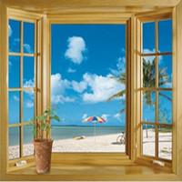 ingrosso 3d finta finestra-Nuovo arrivo 3D Window Scenery Beautiful Sea Beach Visualizza wall sticker falso finestra poster da parete poster decorativo