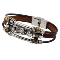 Wholesale gold dragon bracelets - 20.8cm Dragon Head Charm Bracelets Alloy Geniune Leather Weave Braid Cord Beads Strands Multilayers DIY Jewelry