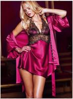 bayanlar seksi gecelik giysileri toptan satış-Seksi Iç Çamaşırı Dantel Pijama Derin V Yaka Lenceria Seksi Bayanlar Gecelik Pijama erotik Pijama Seksi elbise yakın
