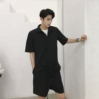 Wholesale woman harem short - Men Streetwear Fashion Hip Hop Casual Short Sleeve Overalls Drawstring Pant Summer Male Women Tooling Jumpsuit Trouser