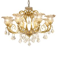 Wholesale Empire Lamps - Style Vintage Charm French Empire large crystal chandelier led lights for hotel church living room copper ceiling lamps