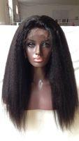 bakire kinky düz dantel peruk toptan satış-Tam Dantel İnsan Saç Peruk Kinky Düz Bakire Brezilyalı Saç Tutkalsız İtalyan Yaki Dantel Frontal İnsan Saç Peruk Ön Koparıp