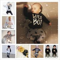 Wholesale Wholesale Cartoon Leggings - Baby Clothes Boys Ins Clothing Sets Girls Fashion Letter T Shirt Pants Print Summer Top Leggings Cartoon Long Sleeve Kid Outfits Suits B3815
