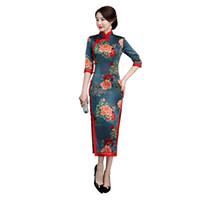 ulusal çince toptan satış-Klasik Kadınlar Mandarin Yaka Ince Qipao Saten Çiçek Seksi Cheongsam Yüksek Bölünmüş Çin Ulusal Elbiseler Artı Boyutu Vestidos 3XL