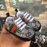 marka tuval dantel ayakkabıları toptan satış-Tasarımcı Bebek Ayakkabıları Dantel-Up Tuval 0-18Mos Marka Kız / Erkek Ayakkabı başlangıç Rahat Kızlar Bebek Çocuk Toddler Ayakkabı