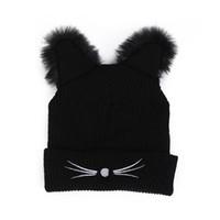 chapeaux de vison pour les femmes achat en gros de-Chaud Chapeau D'hiver De Mode Belle Chat Oreille Pour Les Femmes Harajuku Laine Tricoté Chapeaux Skullies Femme Bonnets Bonnet Faux Mink
