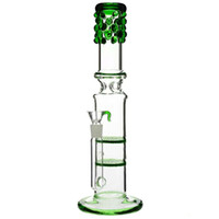 "Wholesale free guard - Glass bongs honey combs ""Bling Bling Betty"" double honeycomb Percolator splash guard water pipe 18mm bowl green 13"""