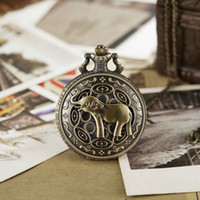Wholesale bronze elephant necklace resale online - Cute Elephant Pocket Watch Antique Carved Bronze Full Hunter Pocket Watches Necklace Fob Clock With Necklace Women Men Gifts