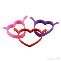 Wholesale heart shaped pancake mold - Silicone Omelette Egg Ring Love Heart Shape Mold Food Grade Temperature Resistance Cooker Mould Binaural For Breakfast Bento 1 2js ZZ