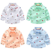 Wholesale Cars Clothes Long Sleeve - 2018 New Arrival Enfant Boys Girls Shirts Cute Cars Pattern Cotton Children Clothes Long Sleeve Kids Blouses Boys Girls Shirt