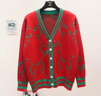 Wholesale cardigan sweaters large women - classy 2018 autumn fashion women's cardigans luxury brand designer sweaters runway clothing brand large size V neck jumpers blue..