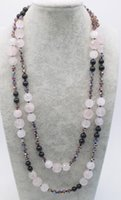 агатовая черная роза оптовых-rose quartz faceted round 10-12mm &black agate necklace 55inch FPPJ wholesale  nature
