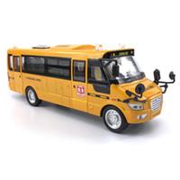 ônibus de brinquedos venda por atacado-1:32 Escala 23 cm Grande Amarelo Pull Back School Bus Alloy Diecast Veículos de Brinquedo com Luzes Sons e Portas Openable