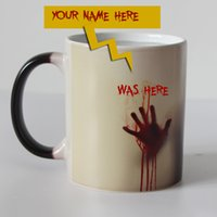 Wholesale Pink Zombie - Custom Your Name On Walking Dead Zombie Color Changing Coffee Mug Heat Sensitive Magic Tea Cup Mugs I Am Here Now Wow !!!