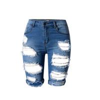 kadın jean ebatları toptan satış-Diz Boyu Yırtık Kot Kadınlar için Delik Artı Boyutu Denim Şort Yüksek Bel Kot ile Taille Haute Kadınlar Kadın Jean Femme 50