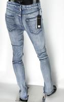 ingrosso stivali justin-Kanye West Fear Of God Stivali Jeans Uomo Justin Bieber Jeans strappati per uomo Bottom Zipper Jeans skinny Uomo Valentine all'ingrosso