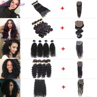 Wholesale 100 unprocessed human hair body wave deep curly water wave silky straight Human Hair Bundles With Closure