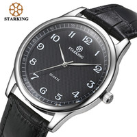 Wholesale Brass Imports - STARKING Import Japan Quartz Watch Men Fashion Top Brand All Black Genuine Leather Elegant Business WristWatch Retro Male Clock