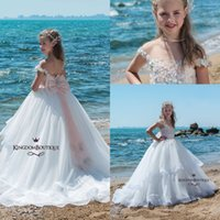 Wholesale Ivory Lace Girls Summer Dresses - 2018 Glitz Girls Pageant Dresses for Teens Capped Sleeves Sheer Neck A Line Tulle Summer Beach Flower Girl Dresses for Weddings with Bow