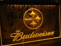 Wholesale led budweiser signs - LD285- Pittsburgh Steelers Budweiser NR LED Neon Light Sign home decor crafts