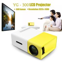 Wholesale home theater player resale online - YG300 Mini Portable Projector LCD Proyector HDMI USB AV SD Lumen P Children Education Home Theater Media Player Beamer
