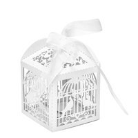 Wholesale Bird Wedding Candy - Wholesale- 10pcs White Hollow Cut Bird Candy Boxes Sweets Box Baby Shower Gifts Wedding Decoration Wedding Invitation Mariage Party Supply