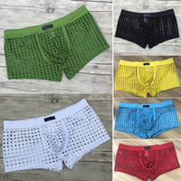 Wholesale black net underwear for sale - Group buy Mens Underwear Boxers Funny Home Furnishing Brand New Leisure Sexy Fish Nets Mesh Hollow Boxer Shorts Underpants