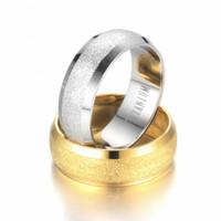 anéis de aço inoxidável em branco venda por atacado-Fosco Anel de Aço Inoxidável Anéis Em Branco de Ouro Maçante Anéis Polonês Anéis de Casamento Designer de Moda Feminina Jóias Will e Sandy 080323