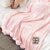 Wholesale Korean Bedspreads - HUAMAO 150*200cm Solid Color With Ball Blanket For Beds Soft 100% Cotton Girl Bedding Warm and Cute Nap Bedspread Washable