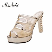 Wholesale ms tie - Ms. Noki Summer 2017 Air Mesh Bling sandals&slippers women platform Thin heel shoes platform shoes with high heel hot selling