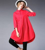 camisa de vestido laranja para as mulheres venda por atacado-Mulheres Plus Size Solto Elegante gola Long Dress Shirt 3/4 mangas (Amarelo / Laranja / Vermelho)